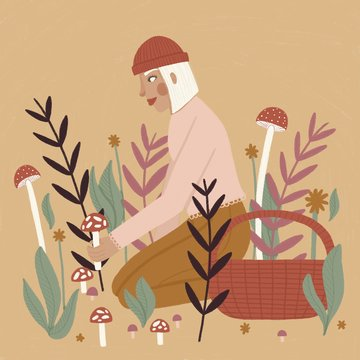 Woman foraging for mushrooms