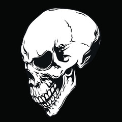 Hand drawn human skulls from different angles. Monochrome vector illustration.