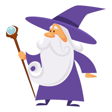 Magician and wizard with scepter, warlock man in robe, isolated character