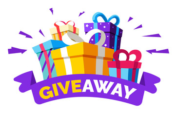 Social media contest, giveaway and special offer, gift boxes