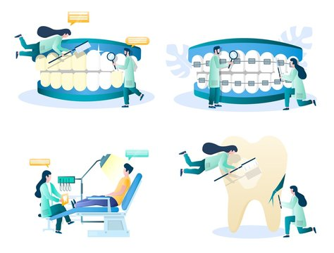 Dentist services vector concept isolated illustration set