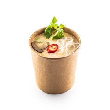 Japanese asian soup in a cup of recycled paper isolated on white background.