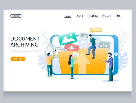 Document archiving vector website landing page design template