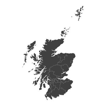 Scotland map with selected regions in black color on a white background