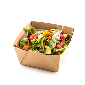 Japanese asian meal in a box of recycled paper isolated on white background.