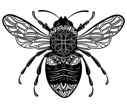 Bee with patterns. Black white bee with ornaments. Stylized wasp. Zentangle insect. Tattoo.