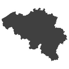 Belgium map in black color on a white background