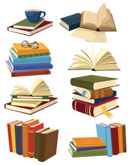 Set of books. Collection of stacks of books. Vector illustration of an open book.