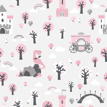 Fairytale seamless pattern. Vector children's illustration of a princess castle in the forest with a crown and a dragon cave in cartoon Scandinavian style. Ideal for baby girl textile.