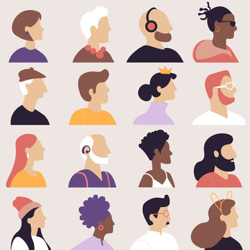 Set of avatars in flat design style. Icons  people in profile of different ages and nationalities. Vector illustration.