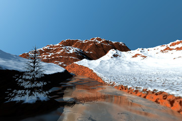 River, a winter landscape, snow on the rocks and a clear sky.