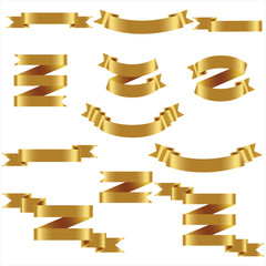 Gold Ribbon Set In Isolated White Background, Vector Illustration