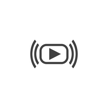 Video streaming icon in black color on a white background