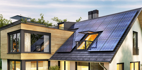 Solar panels on the roof of a modern house