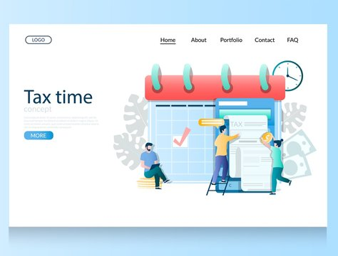 Tax time vector website landing page design template