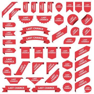 Big set of red stickers last chance tags, labels and banners