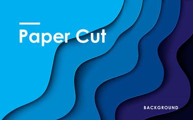 Obraz Modern abstract blue paper cut background - fototapety do salonu
