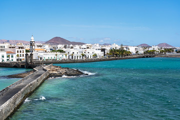 Aluminium Prints City on the water View from the old fortress (Castillo de San Gabriel) on the city of Arrecife, Lanzarote, Spain