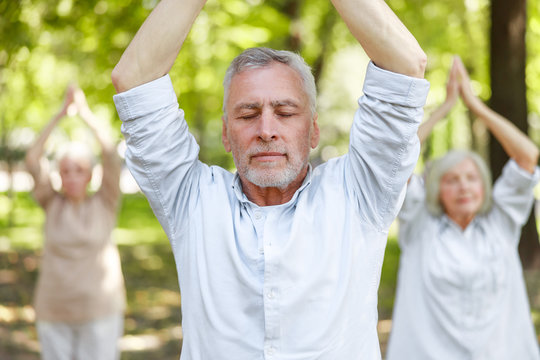 Serene mature man doing qigong exercise in the park