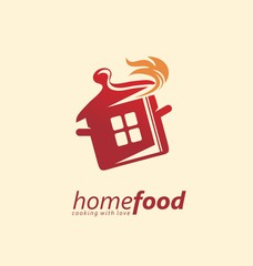 Home cooking logo design idea. Red pot with flames logo template. Vector logo for restaurant or catering service.