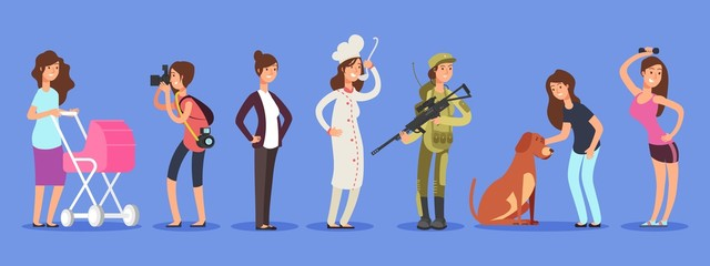 Female free choice vector concept. Woman in different life roles and professions illustration. Profession woman, job different for female, soldier and businesswoman