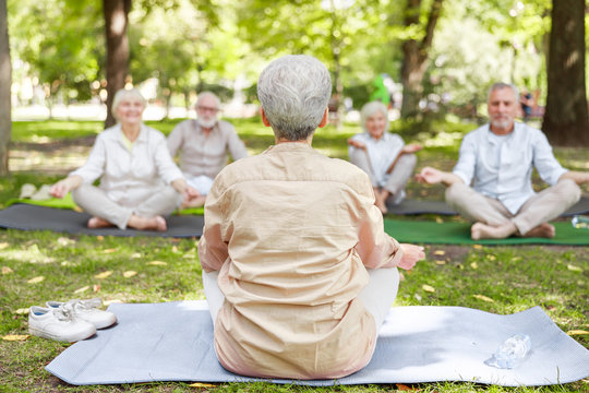 Mature woman teaching yoga class in the park