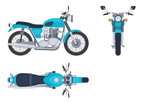 Motorbike side and top view. Motorcycle motocross vehicles. Detailed motorcycling transport isolated vector set. Illustration motorcycle and bike side view and top