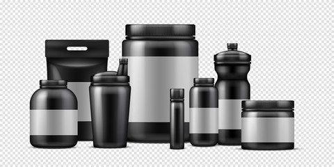 Sport food containers. Vector protein powder container and plastic drink bottles isolated on transparent background. Illustration container bottle, mockup jar and pack with protein powder