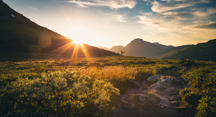 Sunset in Trollheimen mountains, Norway.