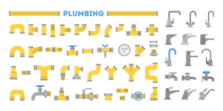 Plumber set, collection of pipe and tap. Plumbing industry.