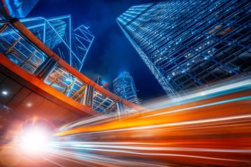 Fototapeta Motion speed effect in modern city street obraz
