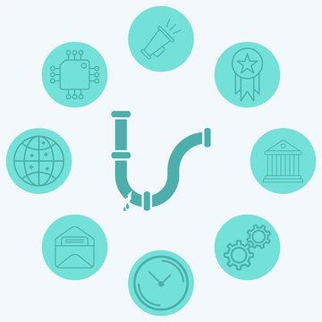 Broken pipe vector icon sign symbol
