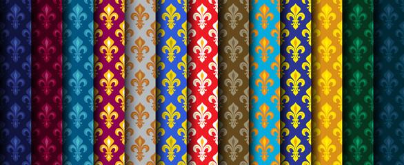 Royal Heraldic Lilies (Fleur de lis) -- Rich colorful wallpaper, fabric textile, seamless pattern, set of 13 versicolored rolls.