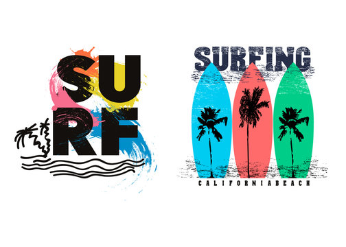 Vintage surf typography set. T-shirt graphics for print and other user. Vector