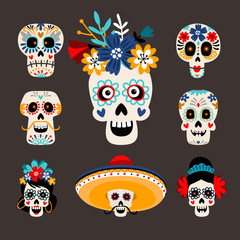 Mexican dead sugar heads. Funny skull images for day of the dead, mexican dia de los muertos festival, cartoon skeletons head set with happy and scary faces