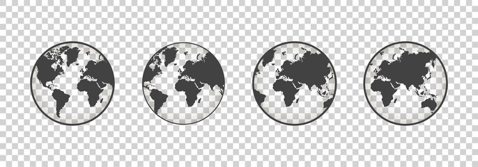 Set of transparent globes. Earth transparent style. 3d icon with set transparent globes earth. Vector illustration