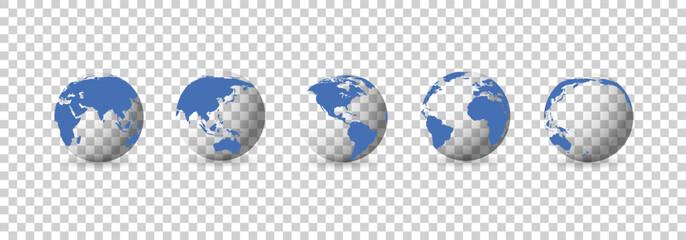 Fototapeta Set of transparent globes. Earth transparent style. 3d icon with set transparent globes earth. Vector illustration obraz