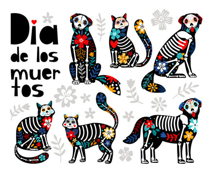 Mexican dead animals. Cats skulls, dogs sugar heads colorful holiday vector illustration for day of the dead, bones skeleton dia de los muertos pets party drawings