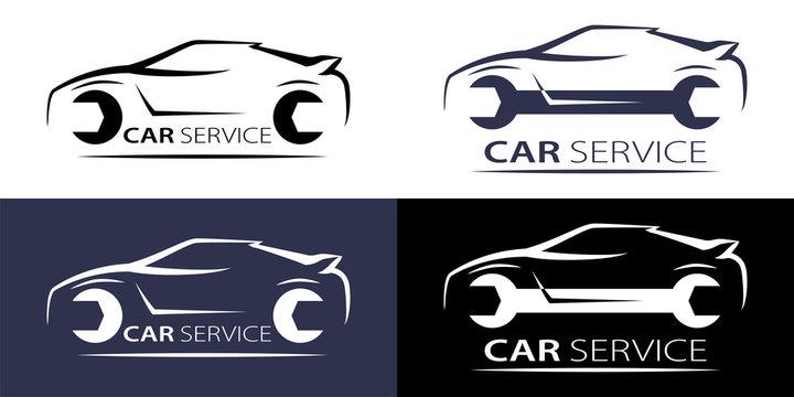 Car service logo linear for concept design. Isolated vector. Logotype, logo. Vector illustration