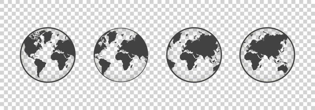 Set of transparent globes. Earth transparent style. 3d icon with set transparent globes earth. Vector illustration