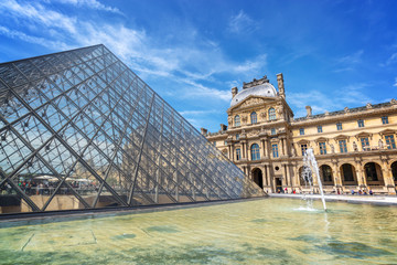 Louvre pyramid in the main courtyard of the Louvre Palace in Paris France