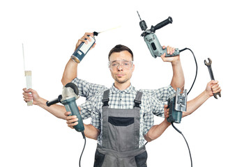 Funny portrait of a craftsman with 6 arms and tools