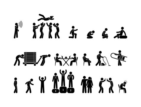Icon people in various situations. People have fun, work, relax. Stick figure pictogram human silhouette isolated.
