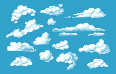 Set white clouds on blue sky background