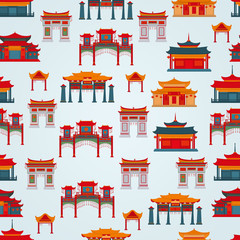 Seamless vector pattern to traditional Chinese buildings and temples  on a light blue background