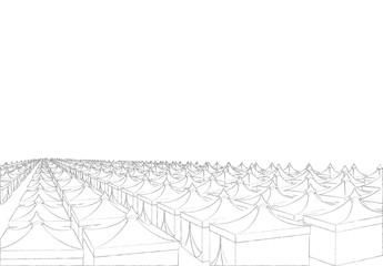 Mina hajj tents in Saudi Arabia for pilgrims. Islamic pilgrimage. Pillar of Islam. Vector drawing pencil illustration
