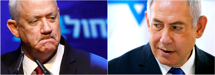 A combination picture shows Blue and White party leader Benny Gantz in Tel Aviv, Israel and Israeli Prime Minister Benjamin Netanyahu in the Jordan Valley, in the Israeli-occupied West Bank
