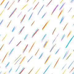 Pencil drawing seamless pattern with colour rain, using colour pencils, crayons and chalks. Located on a white background. Good for wrapping paper, textile, greeting cards.