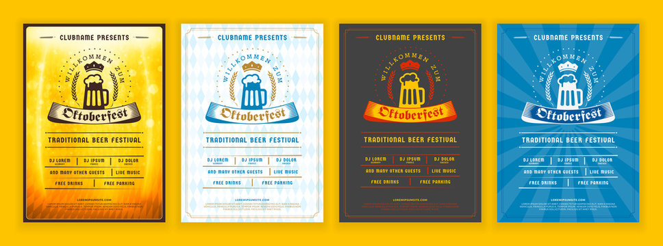 Oktoberfest beer festival celebration. Retro typography poster or flyer template for beer party. Set of different invitation design