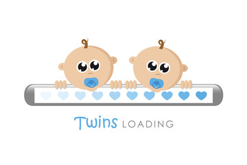 baby boy twins loading bar with hearts vector illustration EPS10